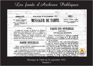 02- Messager de Tahiti N°1 du 26 septembre 1852