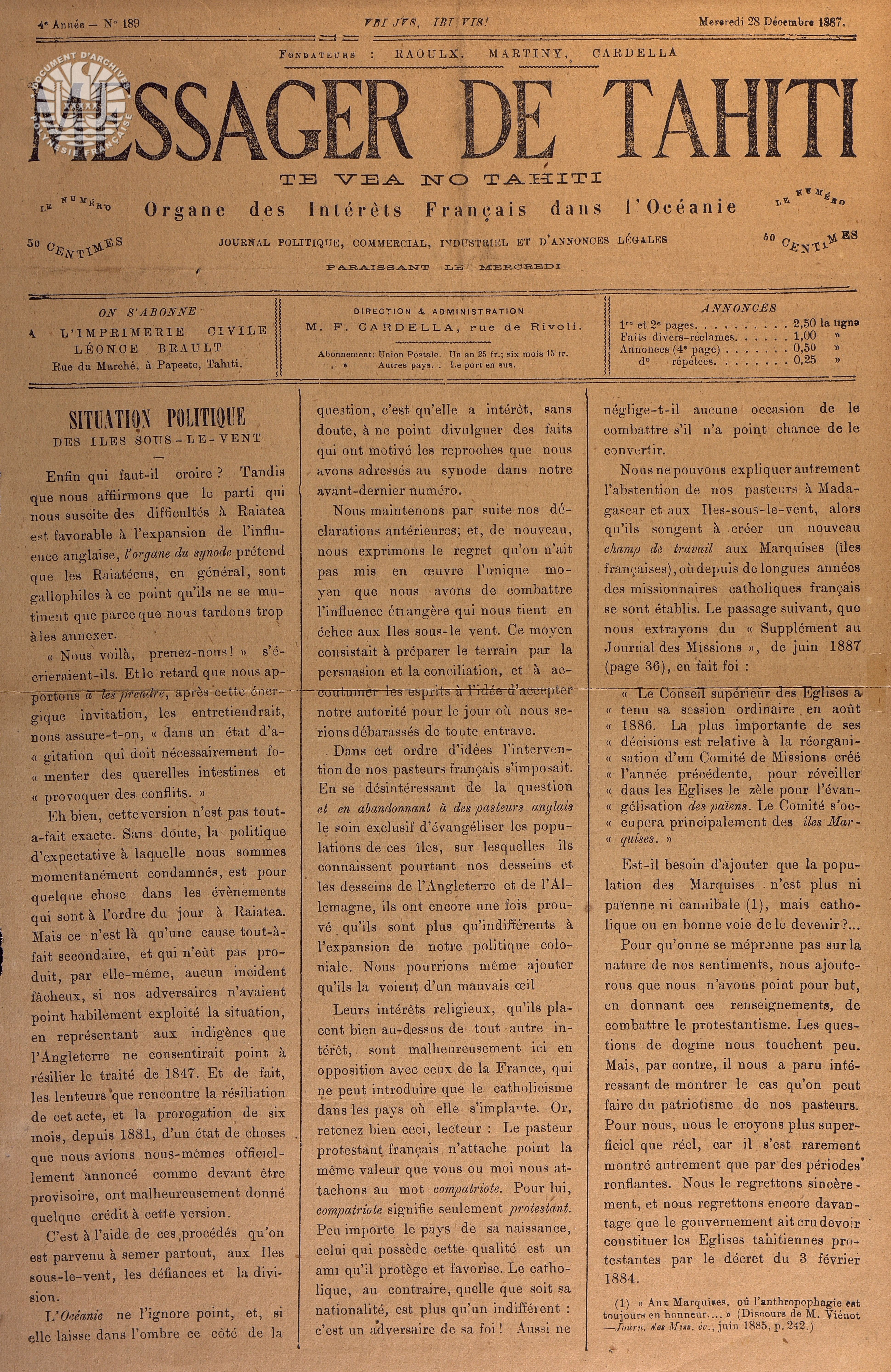Messager N°189 1887 P1