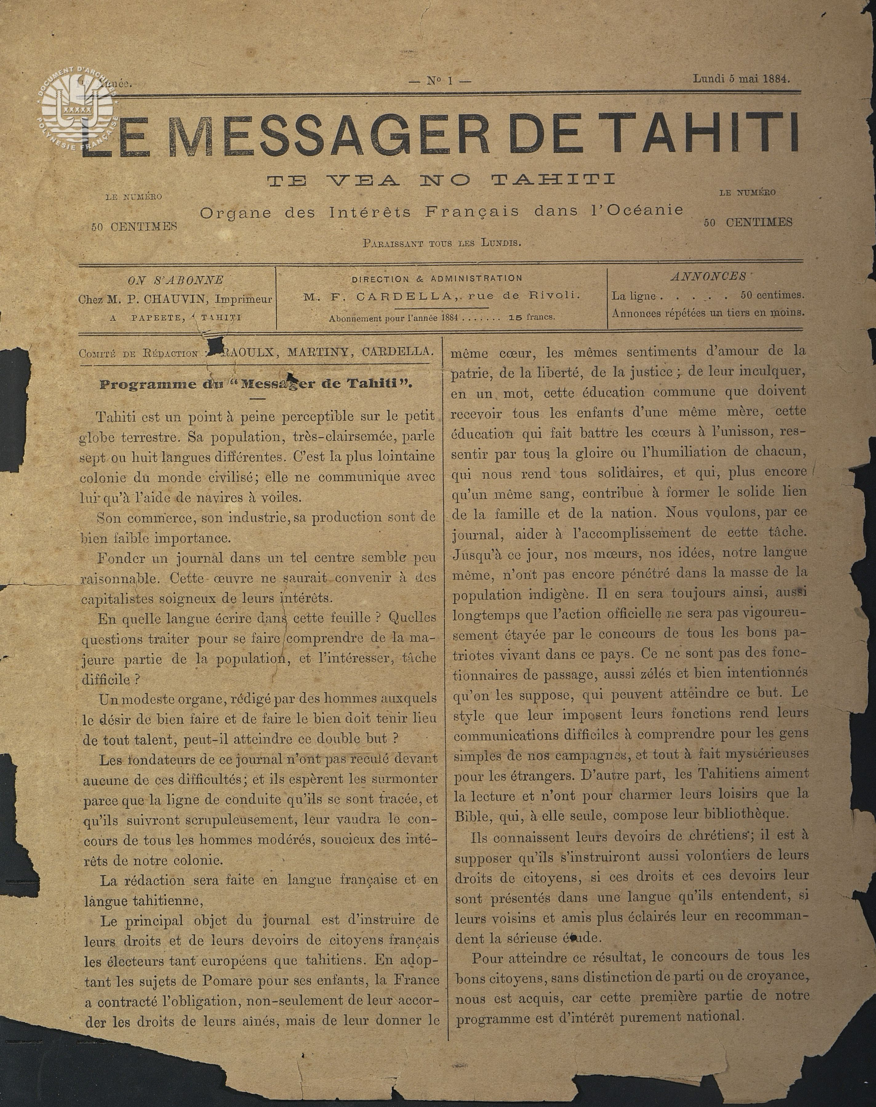 Messager N°1 1884 P1