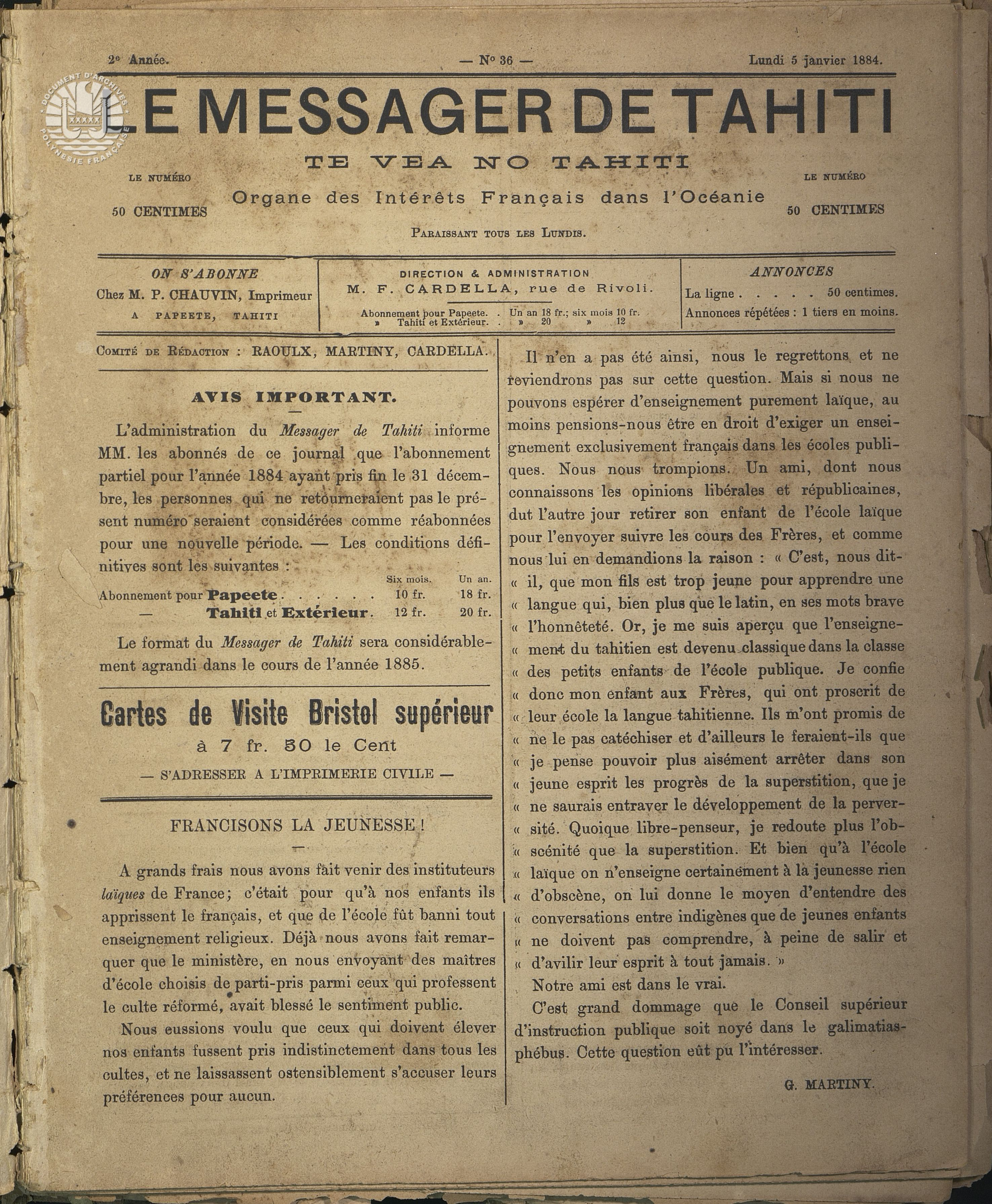 Messager N°36 1885 P1