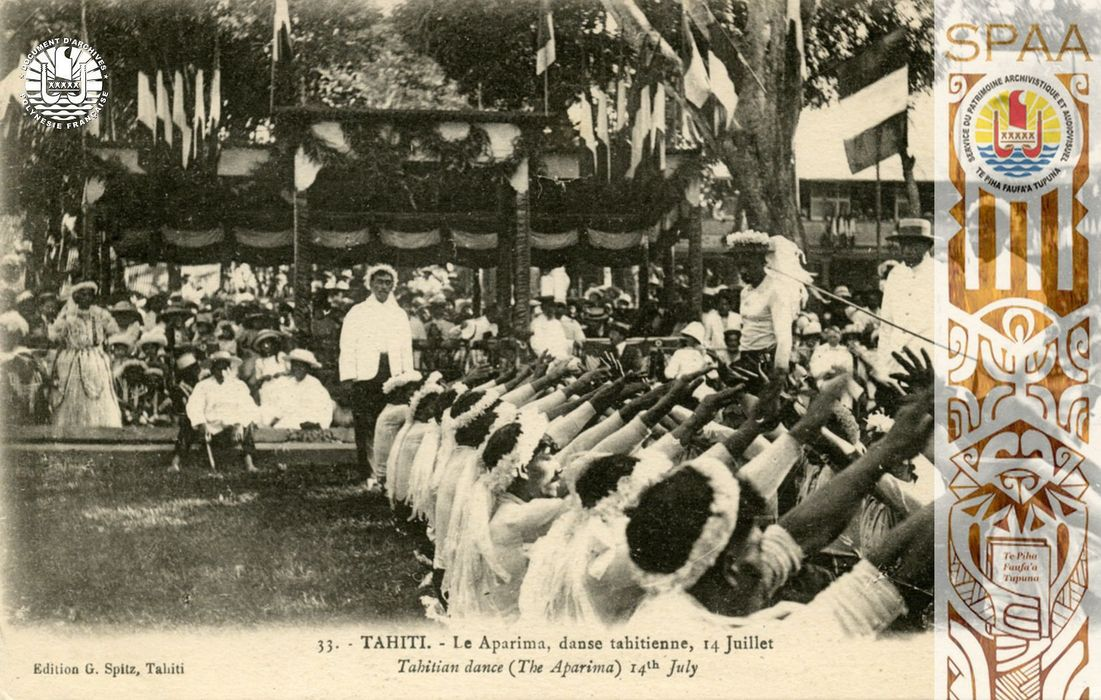 Ha'amana'ora'a, Souvenirs 25: « 33. – TAHITI – Le Aparima, danse tahitienne, 14 Juillet – Tahitian dance (The Aparima) 14th July »
