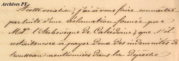 Demande d'indications sur l'état des choses à Taïti, en ce qui concerne le Clergé 31 août 1847