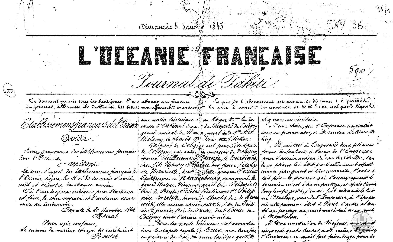 L'Océanie Française – Journal de Tahiti