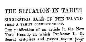 Rumeurs de vente de Tahiti aux Anglais (1905 – 1906)