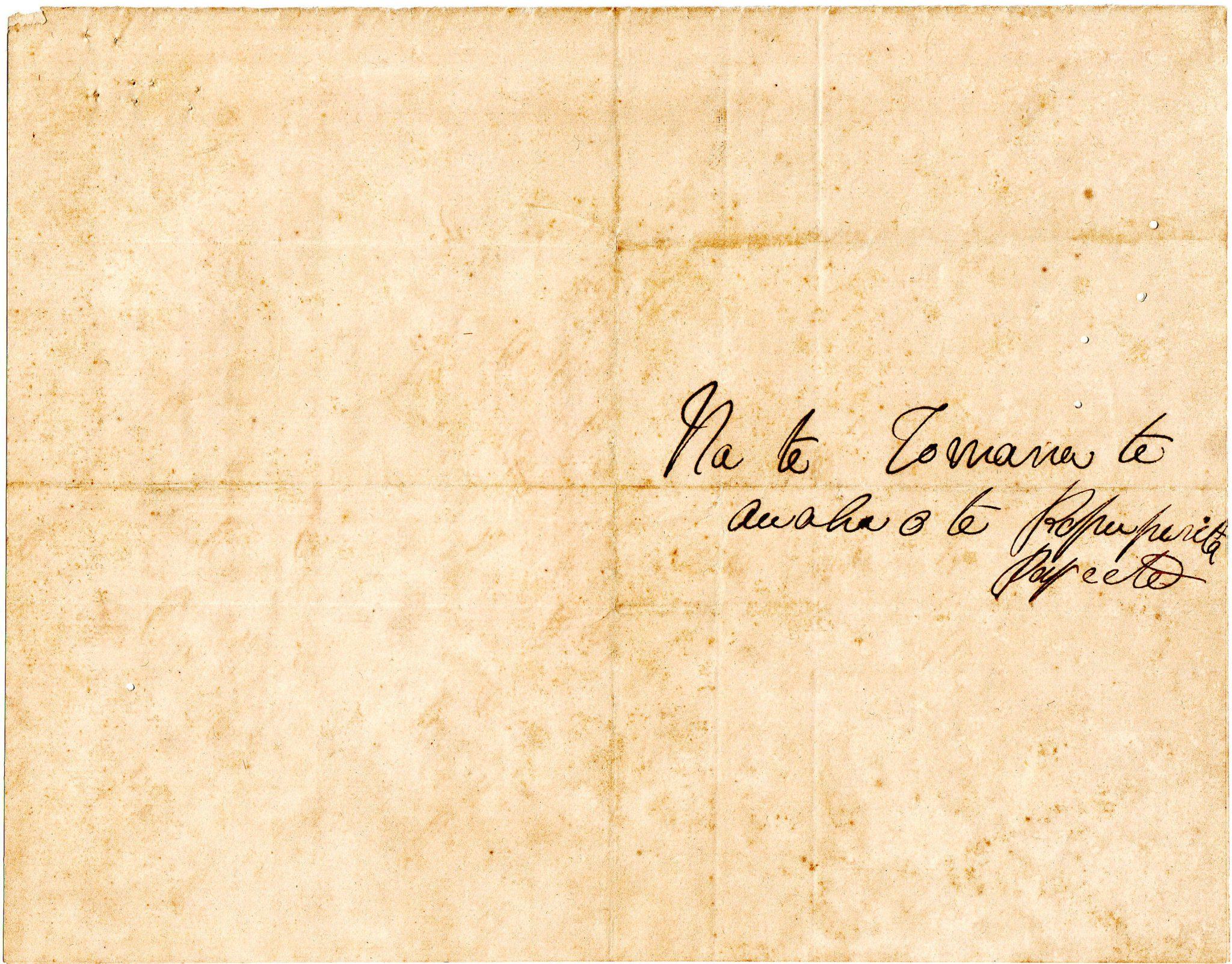 Deux lettres de la reine Pomare du 11 décembre 1873 au Commissaire-Commandant de la République