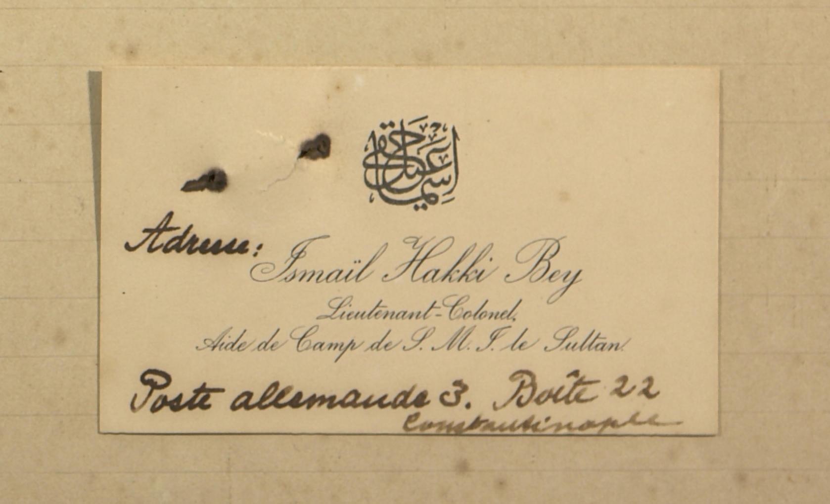 Lettre de Ismaïl Hakki Bey au Gouverneur, et réponse de ce dernier. 01 mai 1906 – 12 juillet 1906
