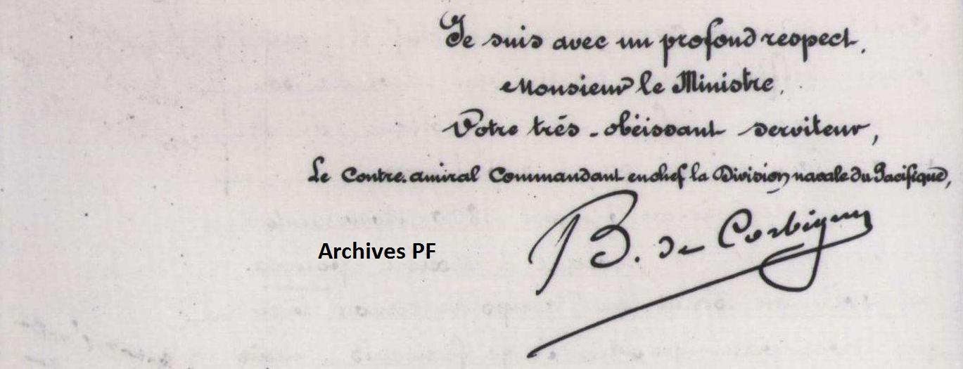 Lettre du contre-amiral de Corbigny au Ministre : Demande d'instructions pour la conduite à tenir vis-à-vis de Mgr d'Axiéri. 1881
