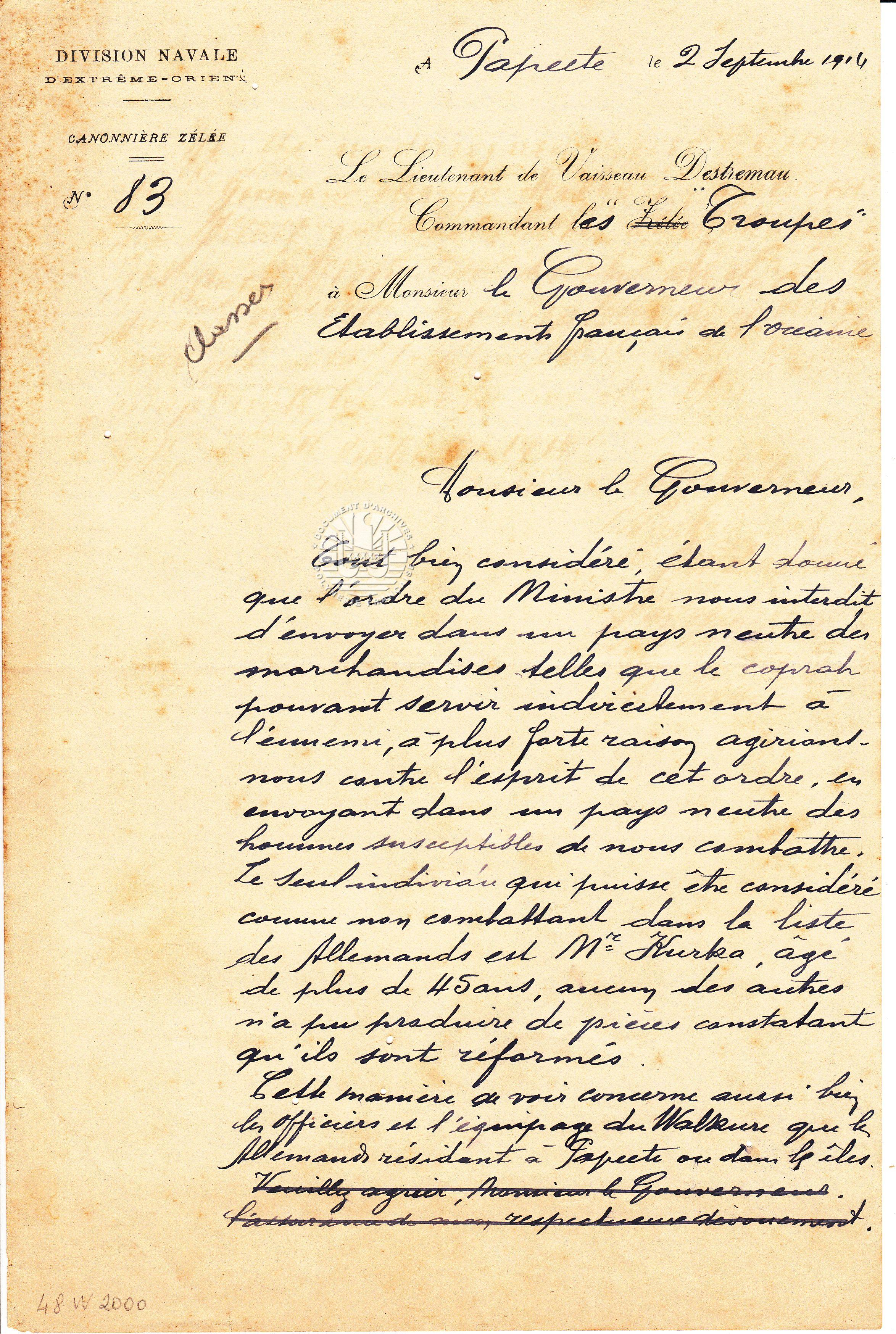 Lettre du Lieutenant de vaisseau Destremau commandant les troupes à M. le gouverneur des Etablissements français de l'Océanie du 2 septembre 1914