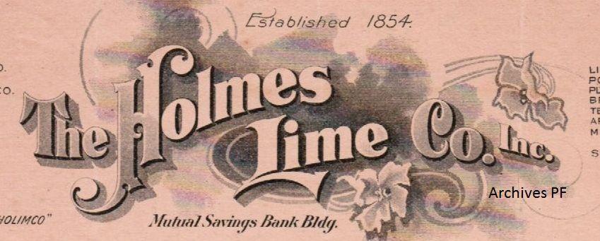 Lettre de THE HOLMES LIME CO.Inc 21 novembre 1908