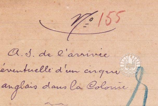 « Au sujet de l'arrivée éventuelle d'un cirque anglais dans la colonie » Février-mars 1909