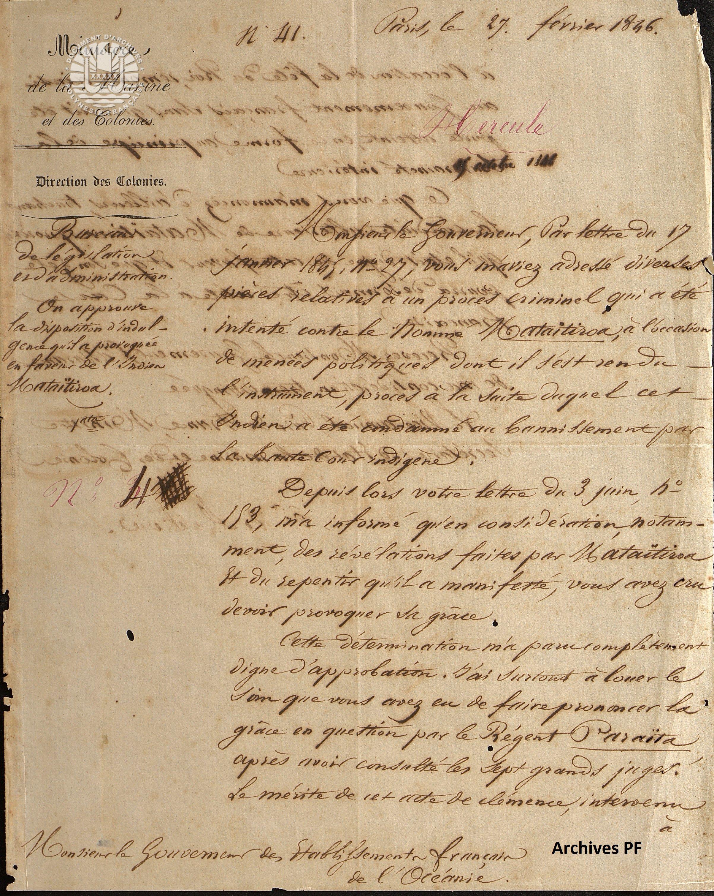 Approbation de la disposition d'indulgence provoquée en faveur de l'Indien Mataïtiroa Lettre du 27 février 1846