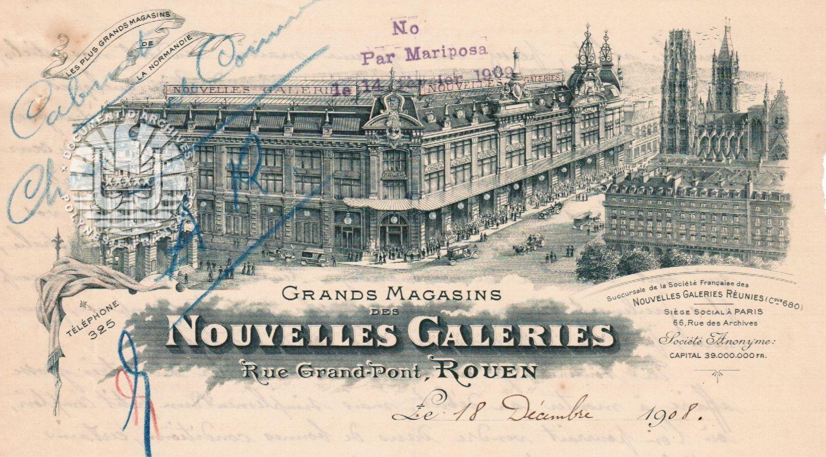 Demande de renseignements des  GRANDS MAGASINS DES NOUVELLES GALERIES de Rouen Décembre1908 – Mars 1909 (Dossier avec lettre, enquête et réponse)