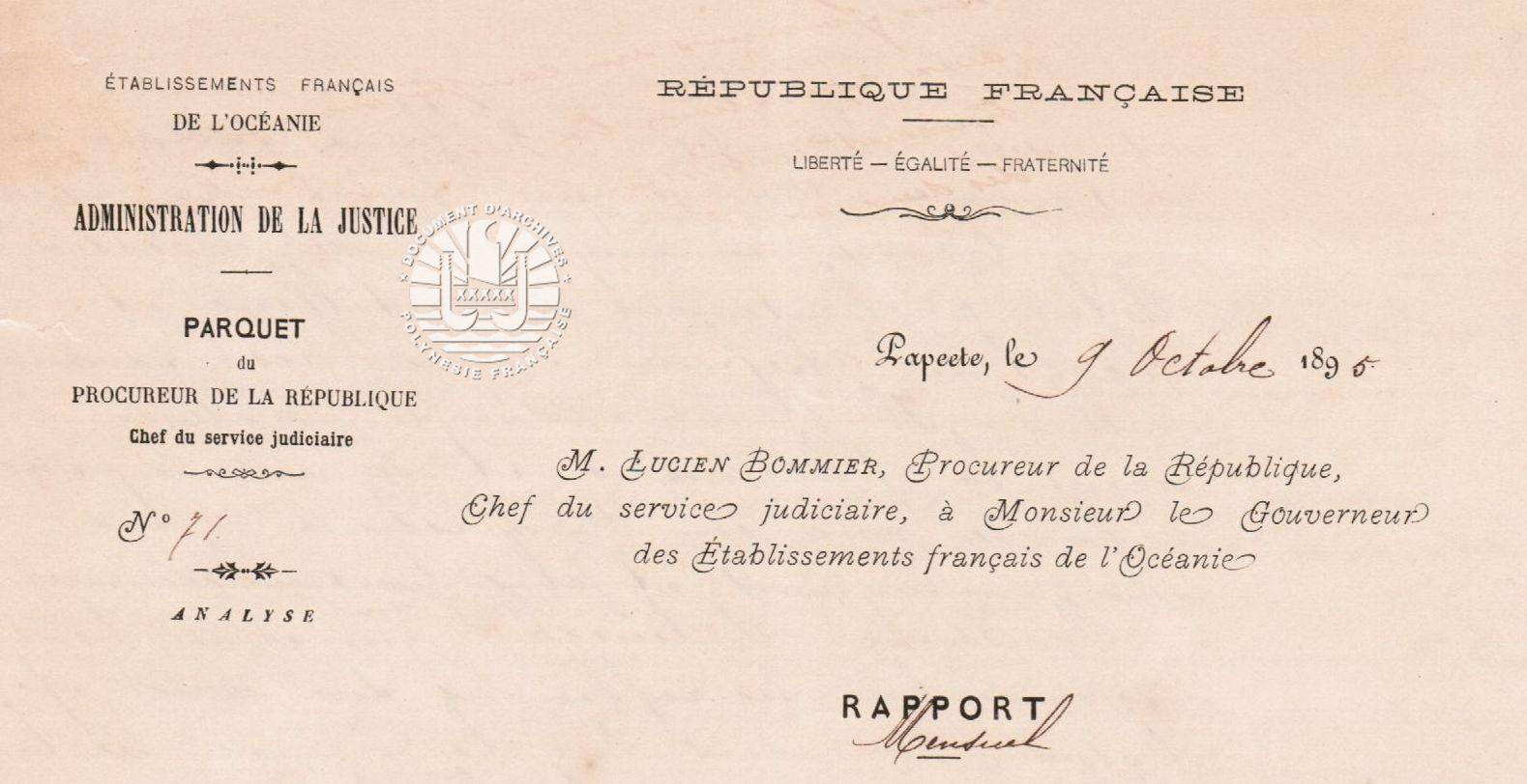 Rapport mensuel du Procureur de la République au Gouverneur 9 octobre 1895