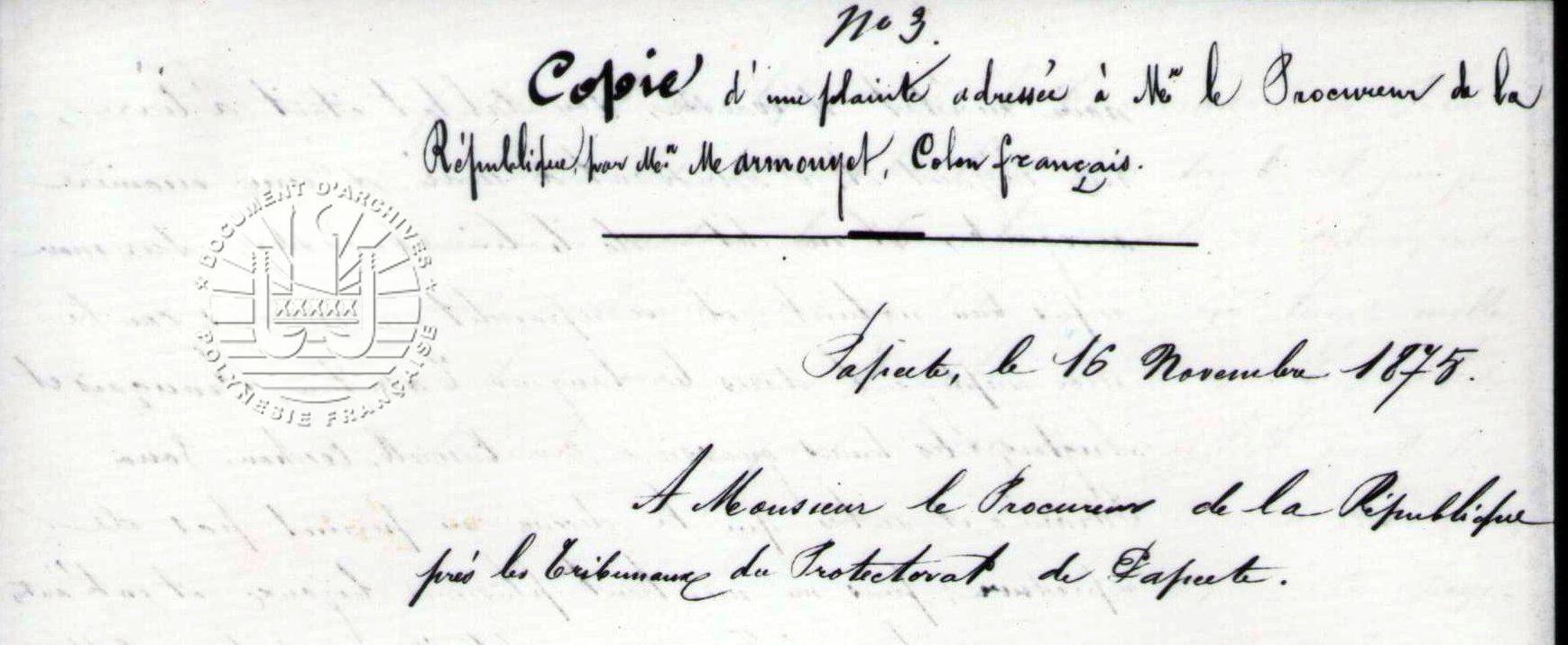 AFFAIRE MARMOUYET / TAMATOA 1875