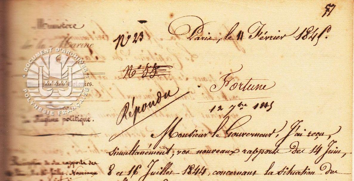 Correspondance Ministre de la Marine et des Colonies au Gouverneur: Lettre du 11 février 1845