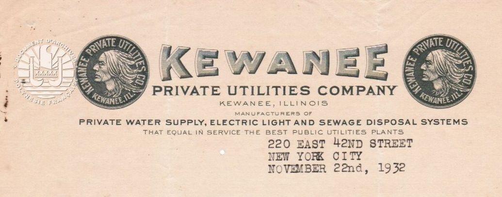 Offre de produits et de services des entreprises Schrader's Son, Inc ET Kewanee Private Utilities Company 1906 et 1932