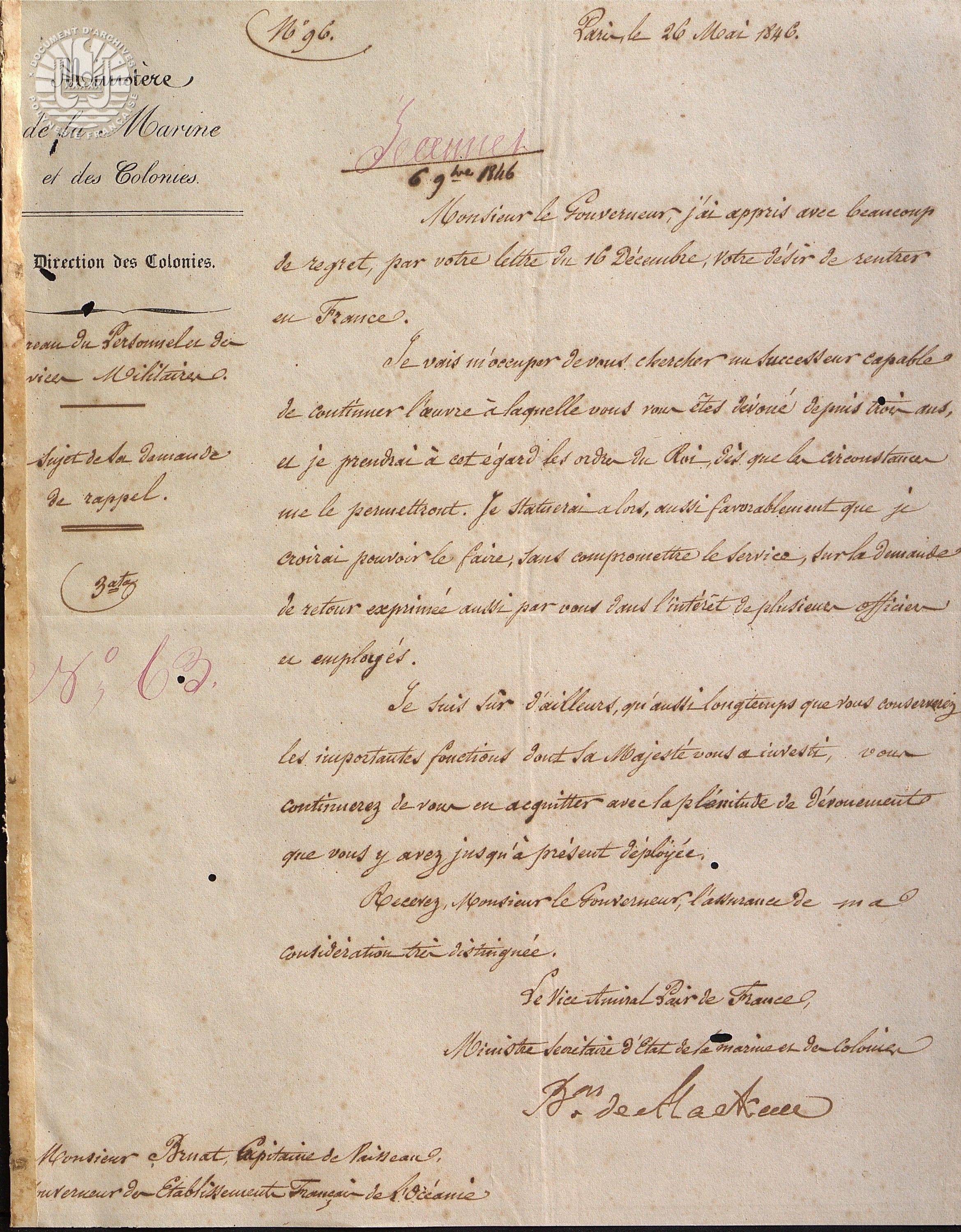 Ministre à Gouverneur au sujet du rappel de Bruat 1846