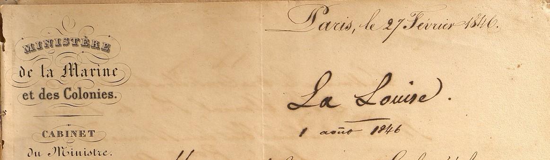 Ministre à Gouverneur 1846 À propos de l'Arche d'Alliance